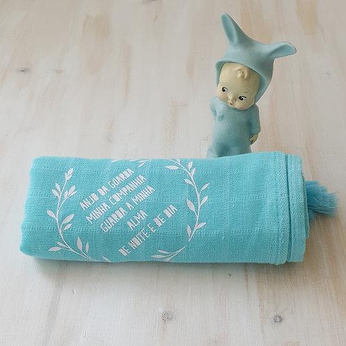 Fralda azul turquesa *anjo da guarda*