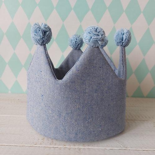 Coroa azul linho*pompons azul claro