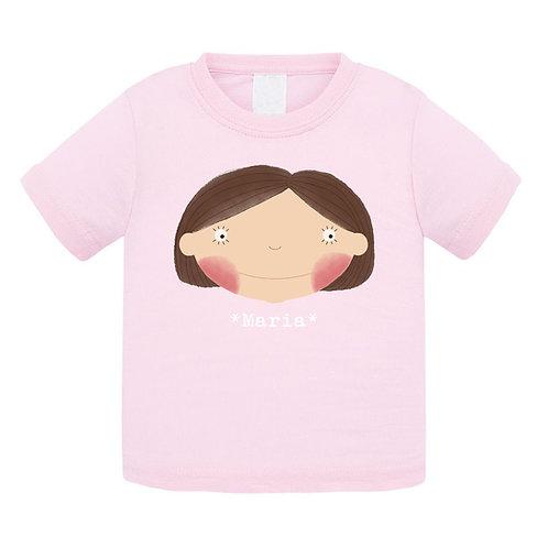 T-shirt  rosa cintada Menina