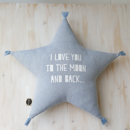 Almofada  *i love you to the moon and back* azul