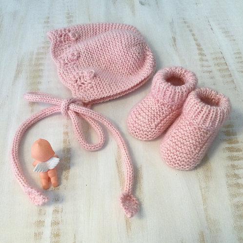 Conjunto touca+carapins rosa
