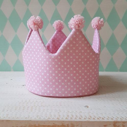 Coroa rosa pintas*pompons rosa claro