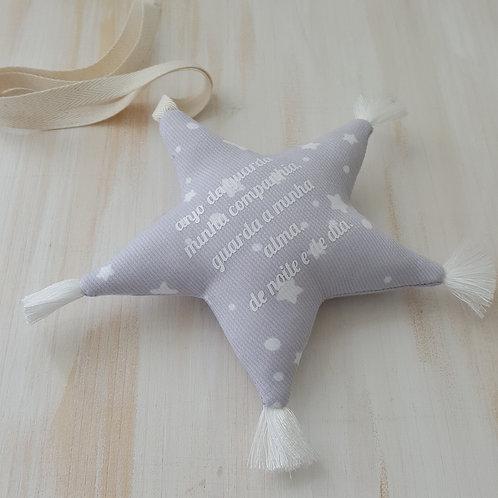 Estrela de pendurar com oração *anjo da guarda* cinzenta