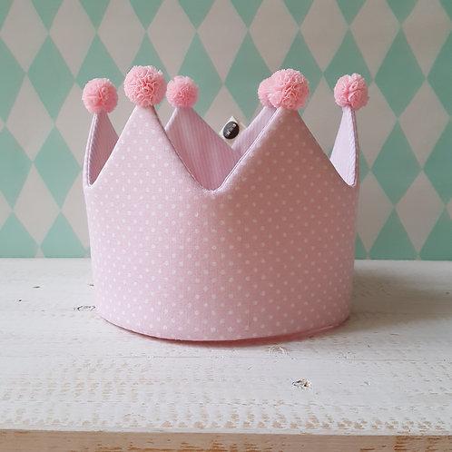 Coroa rosa pintinhas e rosa riscas*pompons rosa claro