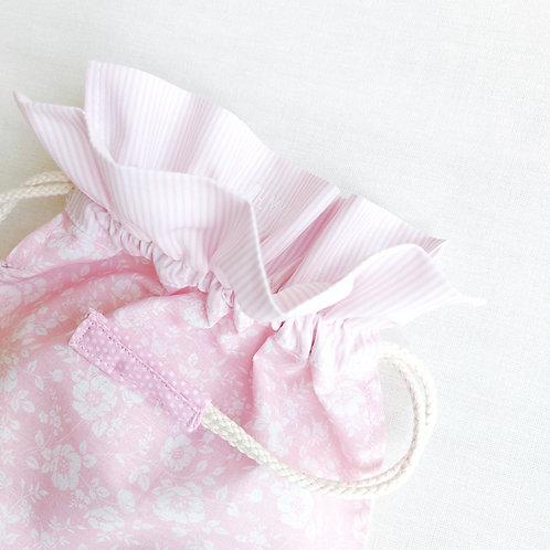 Saco rosa florinhas * rosa riscas