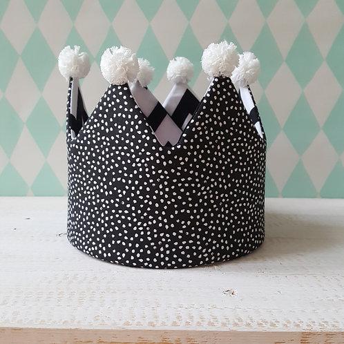 Coroa preta e branca pontinhos e chevron*pompons branco