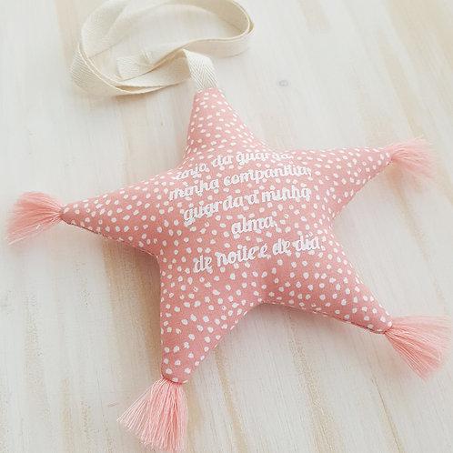Estrela de pendurar com oração *anjo da guarda* Coral