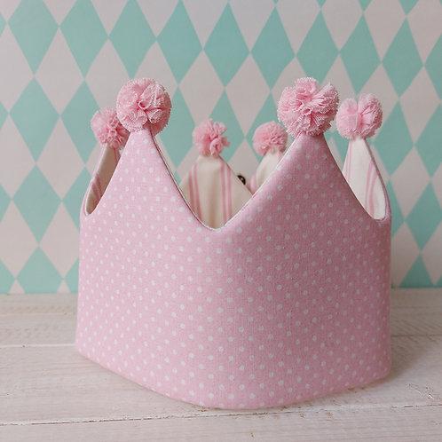Coroa rosa pintinhas e branco riscas*pompons rosa claro