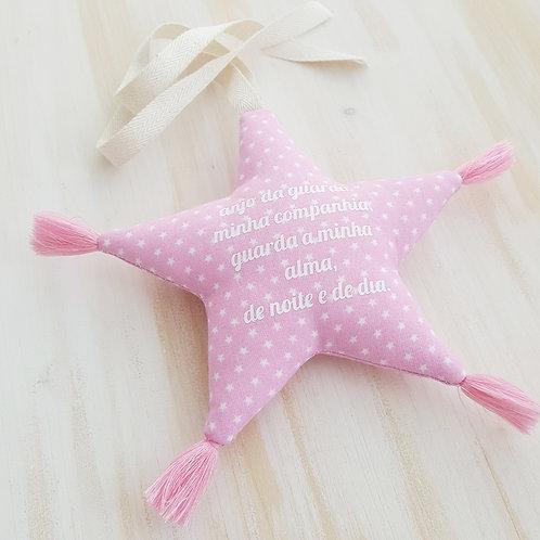 Estrela de pendurar com oração *anjo da guarda* Rosa