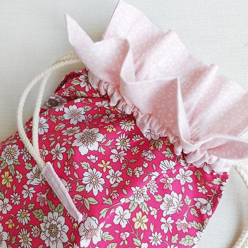 Saco encarnado de flores* rosa pontinhos