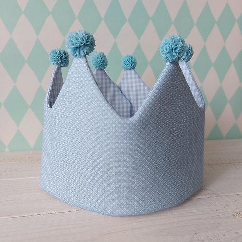 Coroa azul pintinhas e azul vichy *pompons azul