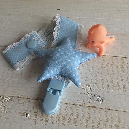 Fita de Chupeta azul *pintinhas*