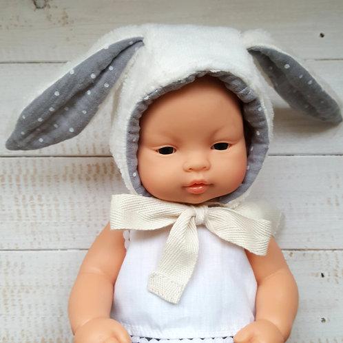 """Touca  """"Bunny"""" crú/cinza"""