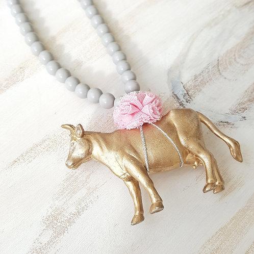 Colar Vaca cinzento claro*rosa claro