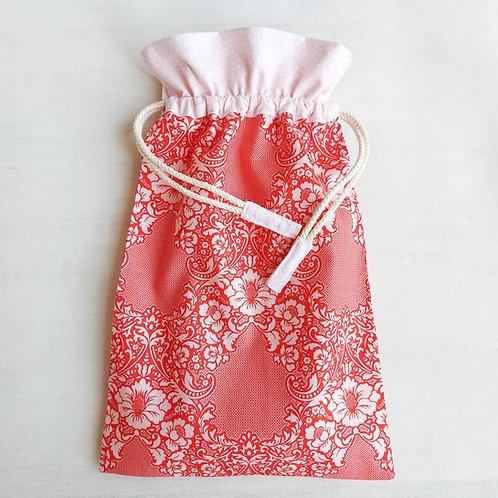 Saco encarnado floral* rosa pontinhos