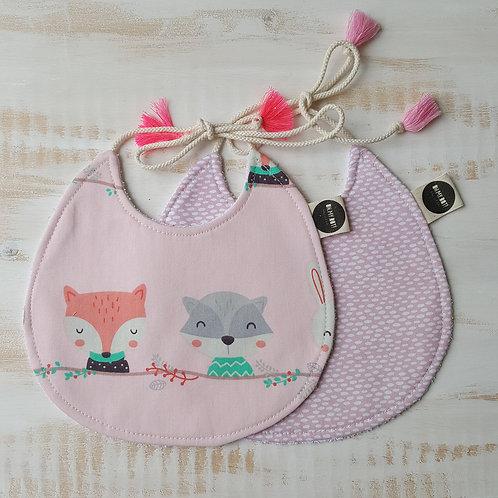 Pack de 2 Babetes rosa animais*rosa traços