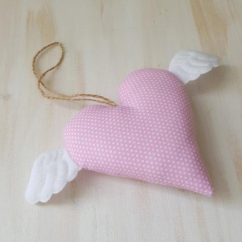 Coração com asinhas rosa