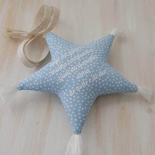 Estrela de pendurar com oração *anjo da guarda* azul