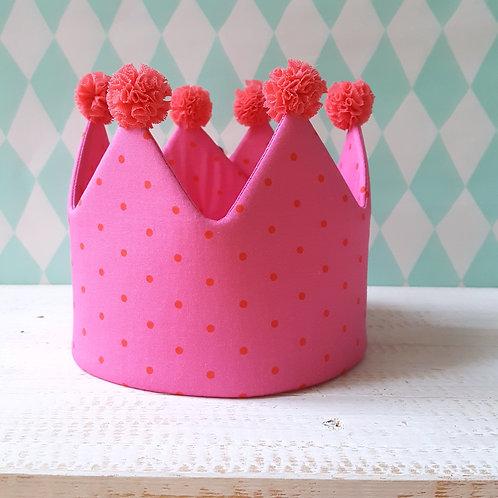 Coroa rosa pintinhas*pompons rosa morango
