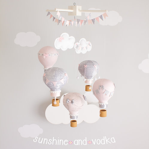 Pink and Grey Baby Mobile, Hot Air Balloon Nursery Decor, 214