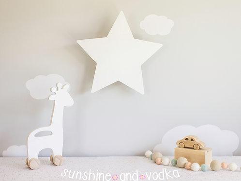Glowing Star Night Light, Nursery Wall Decoration, Kids Room Light, Clou