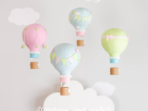 Hot Air Balloon Baby Mobile, Pink and Blue Nursery Decor, 144