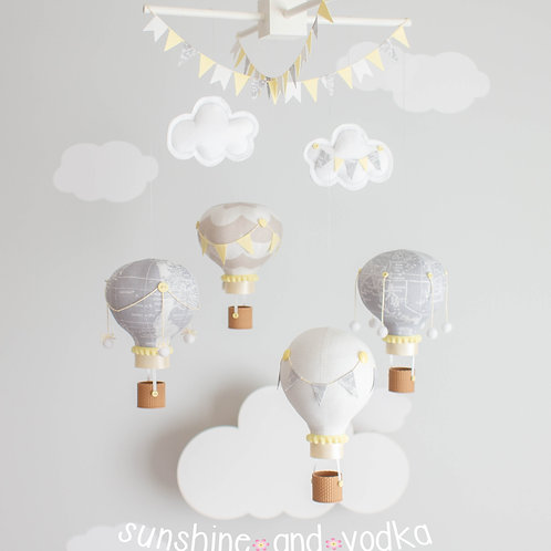 Yellow and Grey, Gender Neutral Hot Air Balloon Baby Mobile, Nursery Decor, 29