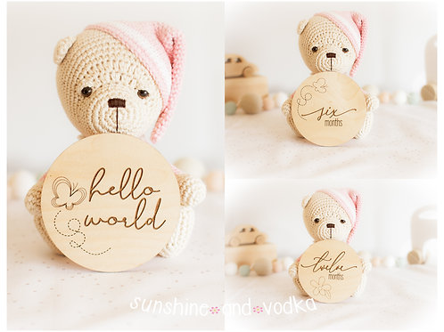 Monthly Wooden Milestone Disc Photo Props Flowers