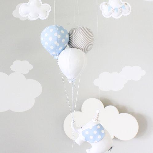 Elephant and Balloon Baby Mobile, Flying Elephant Nursery Decor, i280