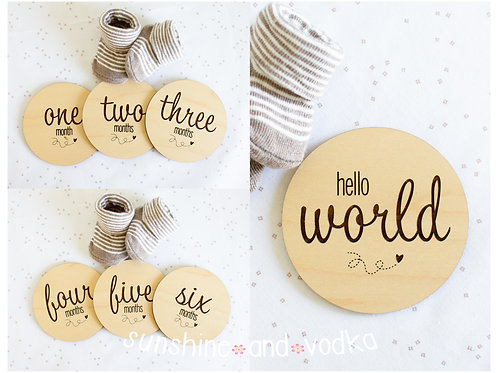 Monthly Wooden Milestone Disc Photo Props Happy Hearts