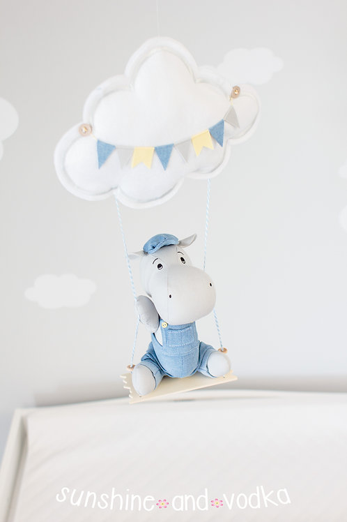 Hippo Baby Mobile, Swinging Hippo Nursery Decor, 247