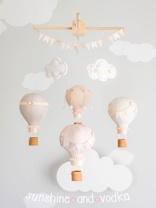 Taupe and Blush Pink Hot Air Balloon Baby Mobile, Nursery Decor, 271