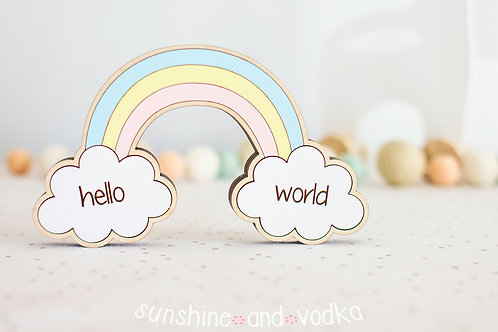Hello World Rainbow Baby Milestone Photo Props with Interchangable Clouds