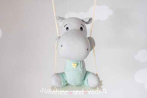 Hippo Baby Mobile, Moon and Stars, Gender Neutral Nursery Mobile, 274