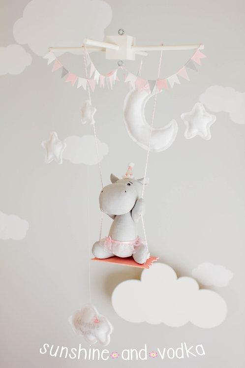 Swinging Hippo, Moon and Stars, Baby Mobile, Nursery Decor, 291