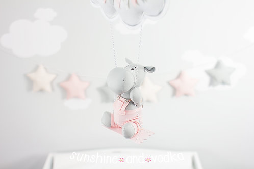 Hippo Baby Mobile, Swinging Hippo Nursery Decor, 219