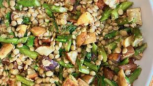 High Folate - Warm Roasted Asparagus & Potato Lentil Salad