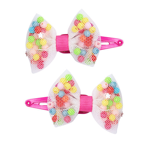 Pink Poppy - Beaded Mini Sparkle Bow Hairclips