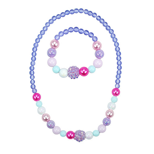 Pink Poppy - Purple - Pastel Dream Necklace and Bracelet Set