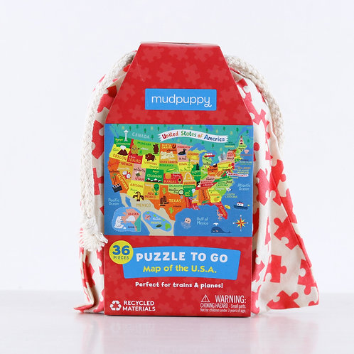 Mudpuppy - Map of the USA - Puzzle to Go