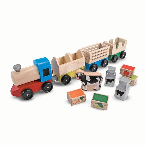Melissa & Doug - Wooden Farm Train Toy Set