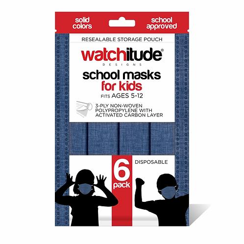 Watchitude - Kid's School Masks (6 pack) Denim