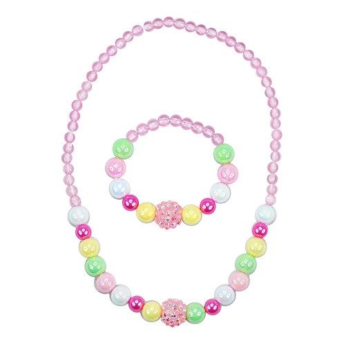 Pink Poppy - Pink - Pastel Dream Necklace and Bracelet Set