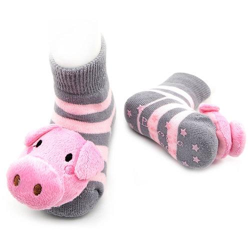 Boogie Toes - Grey/Pink Piggy 1-2 yo
