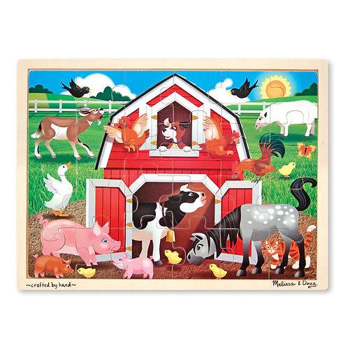 Melissa & Doug - Barnyard Buddies Wooden Jigsaw Puzzle - 24 Pieces