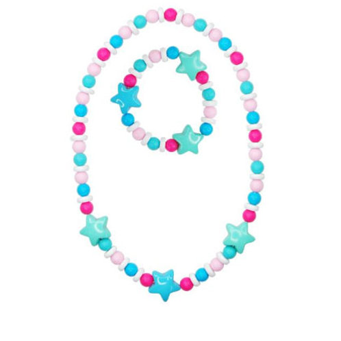 Pink Poppy - Blue - Matt Bead Star Necklace & Bracelet Set
