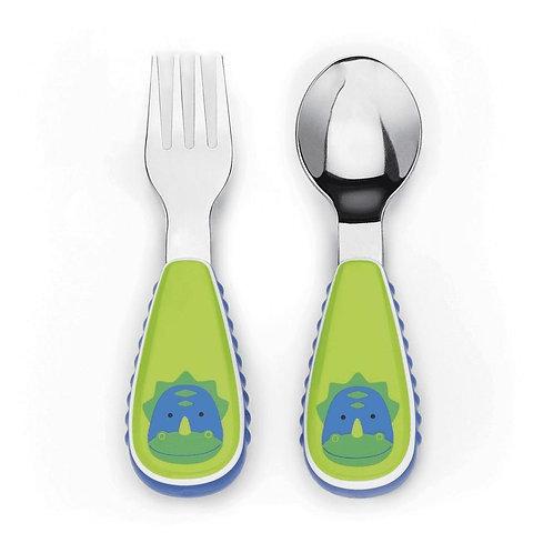 Skip Hop - Zootensils Fork & Spoon Set -  Dinosaur