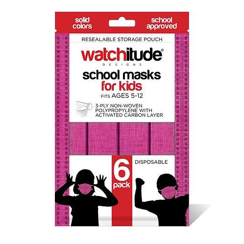 Watchitude - Kids School Masks (6 pack) Raspberry