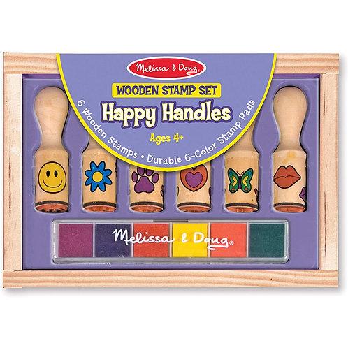 Melissa & Doug - Wooden Stamp Set - Happy Handles