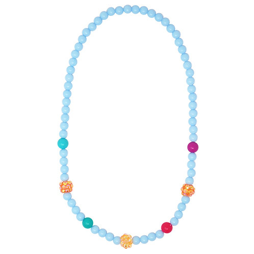 Pink Poppy - Blue - Sparkling Beads Necklace & Bracelet Set